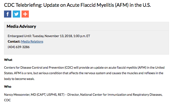 CDC Telebriefing: Update on Acute Flaccid Myelitis (AFM) in the U.S.