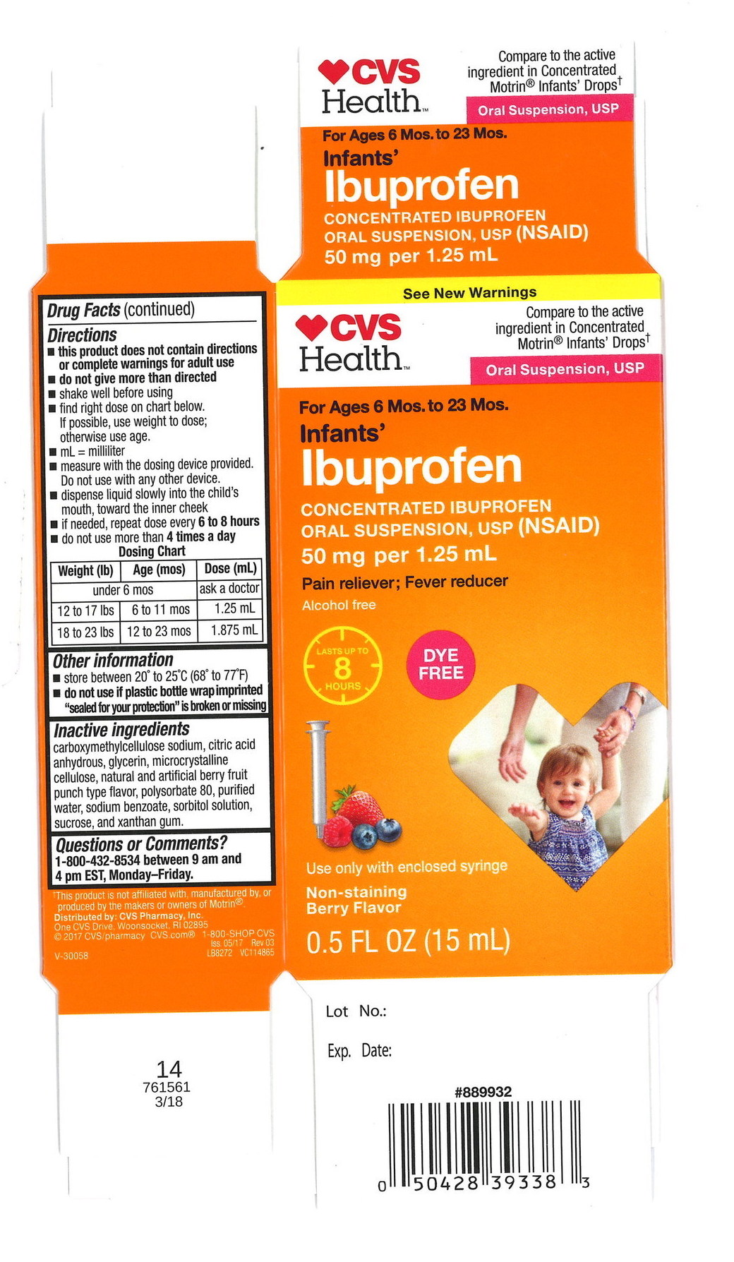 Three lots of  Infants' Ibuprofen Concentrated Oral Suspension that were made by Tris Pharma, Inc. and sold under the Equate, CVS Health, and Family Wellness brands and sold at Wal-Mart, CVS, and Family Dollar stores have been recalled.