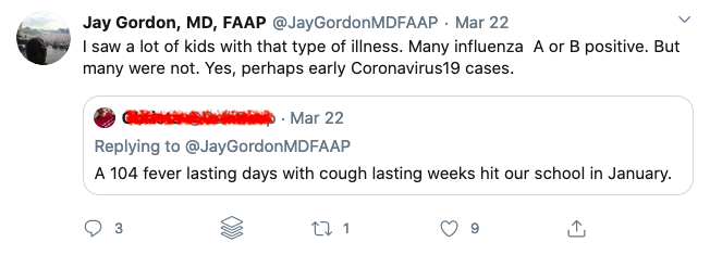 Jay Gordon thinks that he might have been seeing a lot of kids with COVID-19 in January, well before the first confirmed cases in the state.